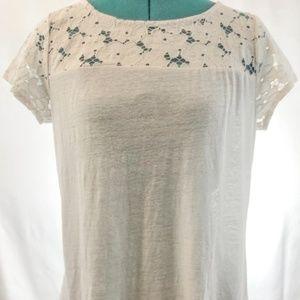 Coldwater Creek | Lace Shoulder Slub Shirt | White